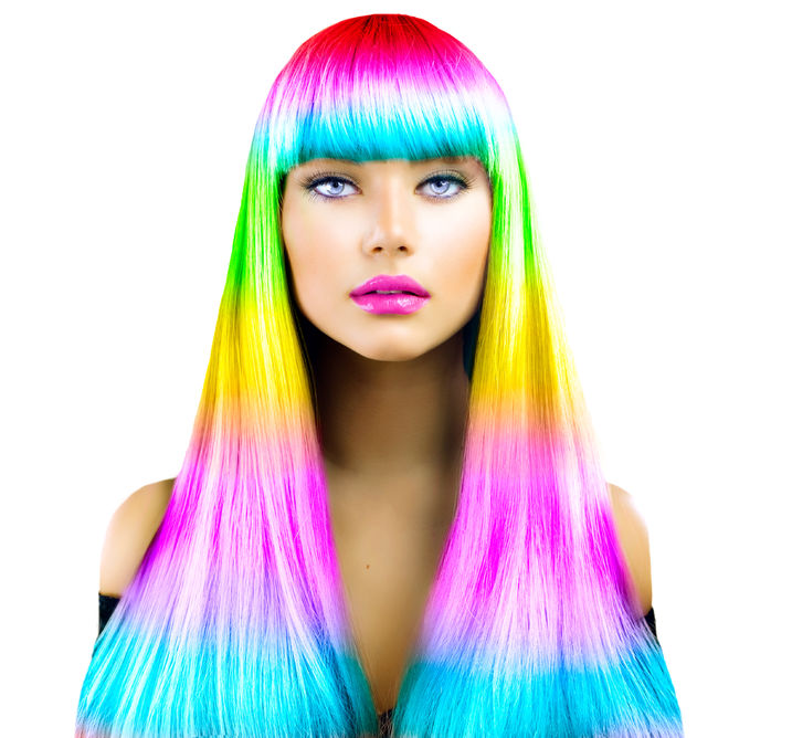 44083831 - beauty fashion model girl with colorful dyed hair